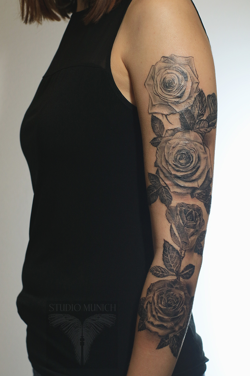 Tattoo Blumen Arm Schwarz Weiß Hylenmaddawardscom